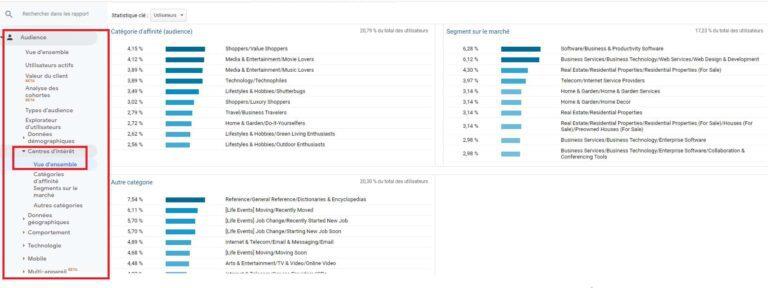 Rapport d'audience Google Analytics - Centres d'intérêt