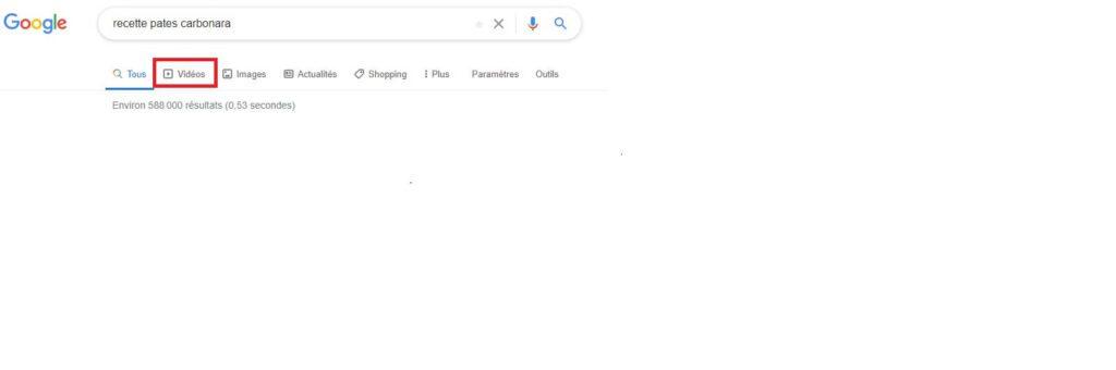Raccourci de recherche résultats SERP Google