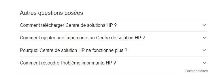 Encart Autres questions posées - SERP Google