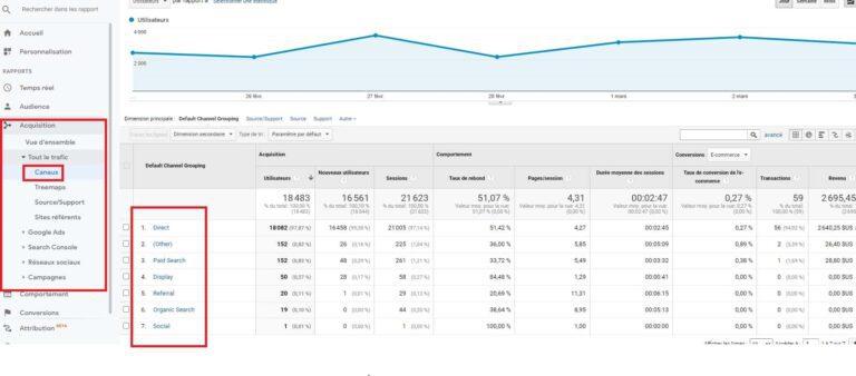 Google Analytics - Acquisition- Canaux marketing