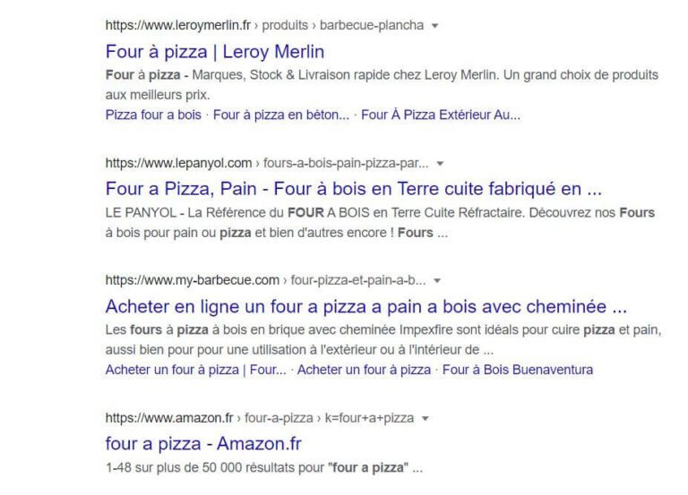 Résultats naturels SERP Google