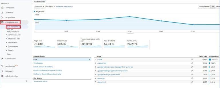 Rapport Comportement - Google Analytics