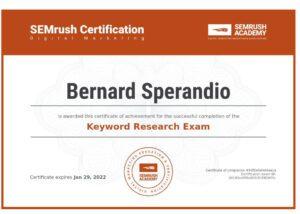 Certification SEMrush Keyword Research