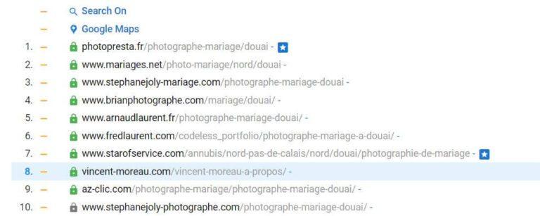 Classement local SERP Google - Vincent Moreau