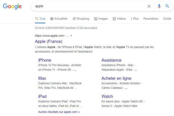 Apple - Google Sitelinks
