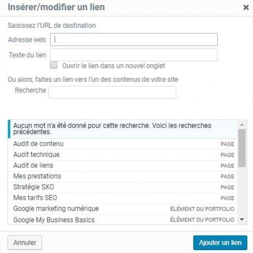 Insertion lien WordPress