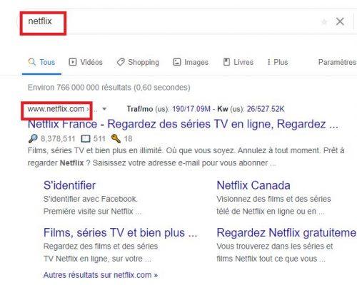 Résultats SERP Google - Intention de recherche navigationnelle